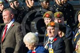 Remembrance Sunday at the Cenotaph in London 2014: Group A34 - The Duke of Lancaster's Regimental Association. Press stand opposite the Foreign Office building, Whitehall, London SW1, London, Greater London, United Kingdom, on 09 November 2014 at 12:05, image #1441