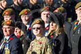 Remembrance Sunday at the Cenotaph in London 2014: Group A34 - The Duke of Lancaster's Regimental Association. Press stand opposite the Foreign Office building, Whitehall, London SW1, London, Greater London, United Kingdom, on 09 November 2014 at 12:05, image #1442