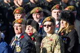 Remembrance Sunday at the Cenotaph in London 2014: Group A34 - The Duke of Lancaster's Regimental Association. Press stand opposite the Foreign Office building, Whitehall, London SW1, London, Greater London, United Kingdom, on 09 November 2014 at 12:05, image #1443