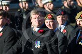 Remembrance Sunday at the Cenotaph in London 2014: Group A34 - The Duke of Lancaster's Regimental Association. Press stand opposite the Foreign Office building, Whitehall, London SW1, London, Greater London, United Kingdom, on 09 November 2014 at 12:05, image #1446