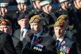 Remembrance Sunday at the Cenotaph in London 2014: Group A34 - The Duke of Lancaster's Regimental Association. Press stand opposite the Foreign Office building, Whitehall, London SW1, London, Greater London, United Kingdom, on 09 November 2014 at 12:05, image #1447