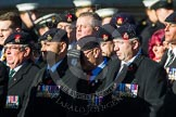 Remembrance Sunday at the Cenotaph in London 2014: Group A36 - The Staffordshire Regiment. Press stand opposite the Foreign Office building, Whitehall, London SW1, London, Greater London, United Kingdom, on 09 November 2014 at 12:06, image #1475