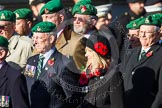 Remembrance Sunday at the Cenotaph in London 2014: Group B1 - Intelligence Corps Association. Press stand opposite the Foreign Office building, Whitehall, London SW1, London, Greater London, United Kingdom, on 09 November 2014 at 12:06, image #1486
