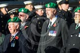 Remembrance Sunday at the Cenotaph in London 2014: Group B1 - Intelligence Corps Association. Press stand opposite the Foreign Office building, Whitehall, London SW1, London, Greater London, United Kingdom, on 09 November 2014 at 12:06, image #1492