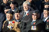 Remembrance Sunday at the Cenotaph in London 2014: Group B11 - Royal Signals Association. Press stand opposite the Foreign Office building, Whitehall, London SW1, London, Greater London, United Kingdom, on 09 November 2014 at 12:08, image #1616