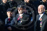 Remembrance Sunday at the Cenotaph in London 2014: Group B11 - Royal Signals Association. Press stand opposite the Foreign Office building, Whitehall, London SW1, London, Greater London, United Kingdom, on 09 November 2014 at 12:08, image #1620