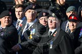 Remembrance Sunday at the Cenotaph in London 2014: Group B13 - Royal Army Service Corps & Royal Corps of Transport Association. Press stand opposite the Foreign Office building, Whitehall, London SW1, London, Greater London, United Kingdom, on 09 November 2014 at 12:09, image #1649