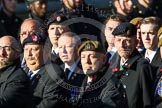 Remembrance Sunday at the Cenotaph in London 2014: Group B16 - Royal Pioneer Corps Association. Press stand opposite the Foreign Office building, Whitehall, London SW1, London, Greater London, United Kingdom, on 09 November 2014 at 12:09, image #1681