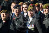 Remembrance Sunday at the Cenotaph in London 2014: Group B16 - Royal Pioneer Corps Association. Press stand opposite the Foreign Office building, Whitehall, London SW1, London, Greater London, United Kingdom, on 09 November 2014 at 12:09, image #1682