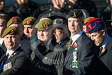 Remembrance Sunday at the Cenotaph in London 2014: Group B16 - Royal Pioneer Corps Association. Press stand opposite the Foreign Office building, Whitehall, London SW1, London, Greater London, United Kingdom, on 09 November 2014 at 12:09, image #1683