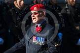 Remembrance Sunday at the Cenotaph in London 2014: Group B20 - Royal Military Police Association. Press stand opposite the Foreign Office building, Whitehall, London SW1, London, Greater London, United Kingdom, on 09 November 2014 at 12:11, image #1730