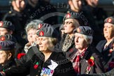 Remembrance Sunday at the Cenotaph in London 2014: Group B25 - Queen Alexandra's Royal Army Nursing Corps Association. Press stand opposite the Foreign Office building, Whitehall, London SW1, London, Greater London, United Kingdom, on 09 November 2014 at 12:11, image #1788