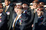 Remembrance Sunday at the Cenotaph in London 2014: Group B29 - Queen's Royal Hussars (The Queen's Own & Royal Irish). Press stand opposite the Foreign Office building, Whitehall, London SW1, London, Greater London, United Kingdom, on 09 November 2014 at 12:12, image #1839