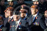 Remembrance Sunday at the Cenotaph in London 2014: Group B29 - Queen's Royal Hussars (The Queen's Own & Royal Irish). Press stand opposite the Foreign Office building, Whitehall, London SW1, London, Greater London, United Kingdom, on 09 November 2014 at 12:12, image #1853