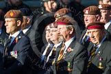 Remembrance Sunday at the Cenotaph in London 2014: Group B29 - Queen's Royal Hussars (The Queen's Own & Royal Irish). Press stand opposite the Foreign Office building, Whitehall, London SW1, London, Greater London, United Kingdom, on 09 November 2014 at 12:12, image #1854