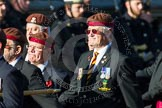 Remembrance Sunday at the Cenotaph in London 2014: Group B29 - Queen's Royal Hussars (The Queen's Own & Royal Irish). Press stand opposite the Foreign Office building, Whitehall, London SW1, London, Greater London, United Kingdom, on 09 November 2014 at 12:12, image #1857
