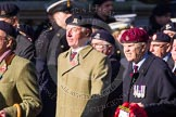 Remembrance Sunday at the Cenotaph in London 2014: Group B30 - 16/5th Queen's Royal Lancers. Press stand opposite the Foreign Office building, Whitehall, London SW1, London, Greater London, United Kingdom, on 09 November 2014 at 12:13, image #1882