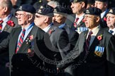 Remembrance Sunday at the Cenotaph in London 2014: Group B30 - 16/5th Queen's Royal Lancers. Press stand opposite the Foreign Office building, Whitehall, London SW1, London, Greater London, United Kingdom, on 09 November 2014 at 12:13, image #1891