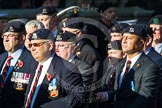 Remembrance Sunday at the Cenotaph in London 2014: Group B30 - 16/5th Queen's Royal Lancers. Press stand opposite the Foreign Office building, Whitehall, London SW1, London, Greater London, United Kingdom, on 09 November 2014 at 12:13, image #1901