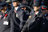 Remembrance Sunday at the Cenotaph in London 2014: Group M1 - Transport For London. Press stand opposite the Foreign Office building, Whitehall, London SW1, London, Greater London, United Kingdom, on 09 November 2014 at 12:14, image #1965