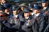 Remembrance Sunday at the Cenotaph in London 2014: Group M1 - Transport For London. Press stand opposite the Foreign Office building, Whitehall, London SW1, London, Greater London, United Kingdom, on 09 November 2014 at 12:15, image #1966