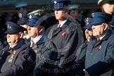 Remembrance Sunday at the Cenotaph in London 2014: Group M1 - Transport For London. Press stand opposite the Foreign Office building, Whitehall, London SW1, London, Greater London, United Kingdom, on 09 November 2014 at 12:15, image #1967