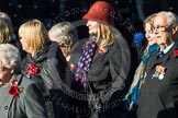 Remembrance Sunday at the Cenotaph in London 2014: Group M3 - Munitions Workers Association. Press stand opposite the Foreign Office building, Whitehall, London SW1, London, Greater London, United Kingdom, on 09 November 2014 at 12:15, image #1984
