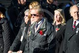 Remembrance Sunday at the Cenotaph in London 2014: Group M5 - Evacuees Reunion Association. Press stand opposite the Foreign Office building, Whitehall, London SW1, London, Greater London, United Kingdom, on 09 November 2014 at 12:15, image #2006