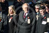Remembrance Sunday at the Cenotaph in London 2014: Group M5 - Evacuees Reunion Association. Press stand opposite the Foreign Office building, Whitehall, London SW1, London, Greater London, United Kingdom, on 09 November 2014 at 12:15, image #2007