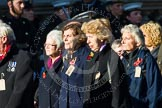 Remembrance Sunday at the Cenotaph in London 2014: Group M5 - Evacuees Reunion Association. Press stand opposite the Foreign Office building, Whitehall, London SW1, London, Greater London, United Kingdom, on 09 November 2014 at 12:15, image #2019