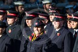 Remembrance Sunday at the Cenotaph in London 2014: Group M7 - Salvation Army. Press stand opposite the Foreign Office building, Whitehall, London SW1, London, Greater London, United Kingdom, on 09 November 2014 at 12:16, image #2035