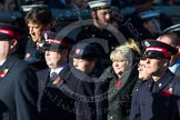 Remembrance Sunday at the Cenotaph in London 2014: Group M7 - Salvation Army. Press stand opposite the Foreign Office building, Whitehall, London SW1, London, Greater London, United Kingdom, on 09 November 2014 at 12:16, image #2038