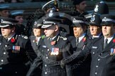 Remembrance Sunday at the Cenotaph in London 2014: Group M12 - Metropolitan Special Constabulary. Press stand opposite the Foreign Office building, Whitehall, London SW1, London, Greater London, United Kingdom, on 09 November 2014 at 12:16, image #2059