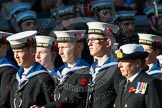 Remembrance Sunday at the Cenotaph in London 2014: Group M45 - Sea Cadet Corps. Press stand opposite the Foreign Office building, Whitehall, London SW1, London, Greater London, United Kingdom, on 09 November 2014 at 12:21, image #2276