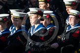 Remembrance Sunday at the Cenotaph in London 2014: Group M45 - Sea Cadet Corps. Press stand opposite the Foreign Office building, Whitehall, London SW1, London, Greater London, United Kingdom, on 09 November 2014 at 12:21, image #2278