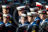 Remembrance Sunday at the Cenotaph in London 2014: Group M45 - Sea Cadet Corps. Press stand opposite the Foreign Office building, Whitehall, London SW1, London, Greater London, United Kingdom, on 09 November 2014 at 12:21, image #2279