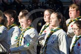 Remembrance Sunday at the Cenotaph in London 2014: Group M49 - Scout Association. Press stand opposite the Foreign Office building, Whitehall, London SW1, London, Greater London, United Kingdom, on 09 November 2014 at 12:21, image #2313