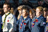 Remembrance Sunday at the Cenotaph in London 2014: Group M50 - Girlguiding London & South East England. Press stand opposite the Foreign Office building, Whitehall, London SW1, London, Greater London, United Kingdom, on 09 November 2014 at 12:21, image #2317