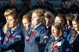 Remembrance Sunday at the Cenotaph in London 2014: Group M50 - Girlguiding London & South East England. Press stand opposite the Foreign Office building, Whitehall, London SW1, London, Greater London, United Kingdom, on 09 November 2014 at 12:21, image #2318
