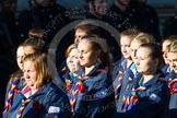 Remembrance Sunday at the Cenotaph in London 2014: Group M50 - Girlguiding London & South East England. Press stand opposite the Foreign Office building, Whitehall, London SW1, London, Greater London, United Kingdom, on 09 November 2014 at 12:21, image #2320