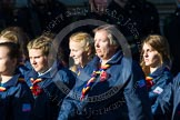 Remembrance Sunday at the Cenotaph in London 2014: Group M50 - Girlguiding London & South East England. Press stand opposite the Foreign Office building, Whitehall, London SW1, London, Greater London, United Kingdom, on 09 November 2014 at 12:21, image #2321