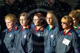 Remembrance Sunday at the Cenotaph in London 2014: Group M52 - Girls Brigade England & Wales. Press stand opposite the Foreign Office building, Whitehall, London SW1, London, Greater London, United Kingdom, on 09 November 2014 at 12:21, image #2333