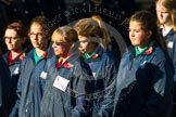 Remembrance Sunday at the Cenotaph in London 2014: Group M52 - Girls Brigade England & Wales. Press stand opposite the Foreign Office building, Whitehall, London SW1, London, Greater London, United Kingdom, on 09 November 2014 at 12:21, image #2334