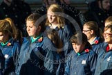 Remembrance Sunday at the Cenotaph in London 2014: Group M52 - Girls Brigade England & Wales. Press stand opposite the Foreign Office building, Whitehall, London SW1, London, Greater London, United Kingdom, on 09 November 2014 at 12:22, image #2335