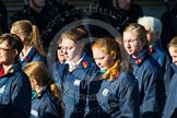 Remembrance Sunday at the Cenotaph in London 2014: Group M52 - Girls Brigade England & Wales. Press stand opposite the Foreign Office building, Whitehall, London SW1, London, Greater London, United Kingdom, on 09 November 2014 at 12:22, image #2337