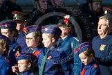 Remembrance Sunday at the Cenotaph in London 2014: Group M53 - Church Lads & Church Girls Brigade. Press stand opposite the Foreign Office building, Whitehall, London SW1, London, Greater London, United Kingdom, on 09 November 2014 at 12:22, image #2349