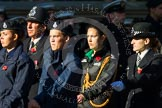 Remembrance Sunday at the Cenotaph in London 2014: Group M54 - Metropolitan Police Volunteer Police Cadets. Press stand opposite the Foreign Office building, Whitehall, London SW1, London, Greater London, United Kingdom, on 09 November 2014 at 12:22, image #2359