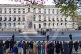 Remembrance Sunday at the Cenotaph in London 2014: Ten minutes later - the first spectators have arrived.. Press stand opposite the Foreign Office building, Whitehall, London SW1, London, Greater London, United Kingdom, on 09 November 2014 at 08:10, image #3