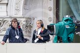 Remembrance Sunday at the Cenotaph in London 2014: CTV Outside Boradcasts TV crew for the BBC live broadcast.. Press stand opposite the Foreign Office building, Whitehall, London SW1, London, Greater London, United Kingdom, on 09 November 2014 at 09:36, image #17
