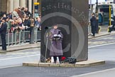 Remembrance Sunday at the Cenotaph in London 2014: An Army photographer at the Memorial for Women in World War II.. Press stand opposite the Foreign Office building, Whitehall, London SW1, London, Greater London, United Kingdom, on 09 November 2014 at 09:37, image #18